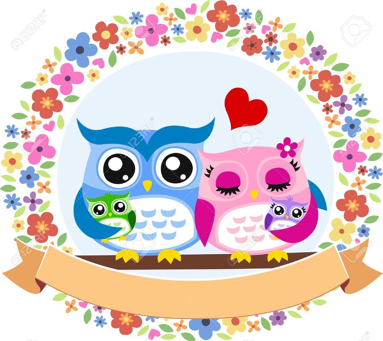 Owl family background colorful flat design shadow decor Free uk