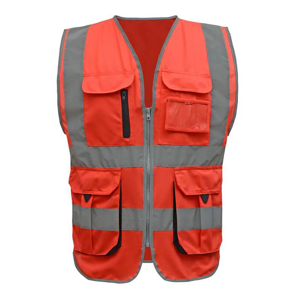 Gogo 9 pockets high visibility zipper front safety vest