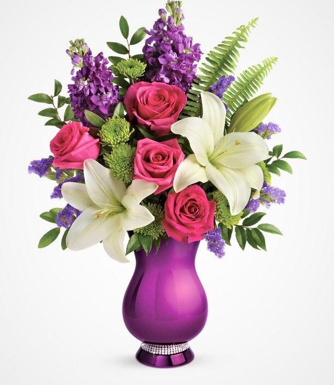Teleflora Lavender Love Vase Lavender Glass Pedestal Vase 12M200 New