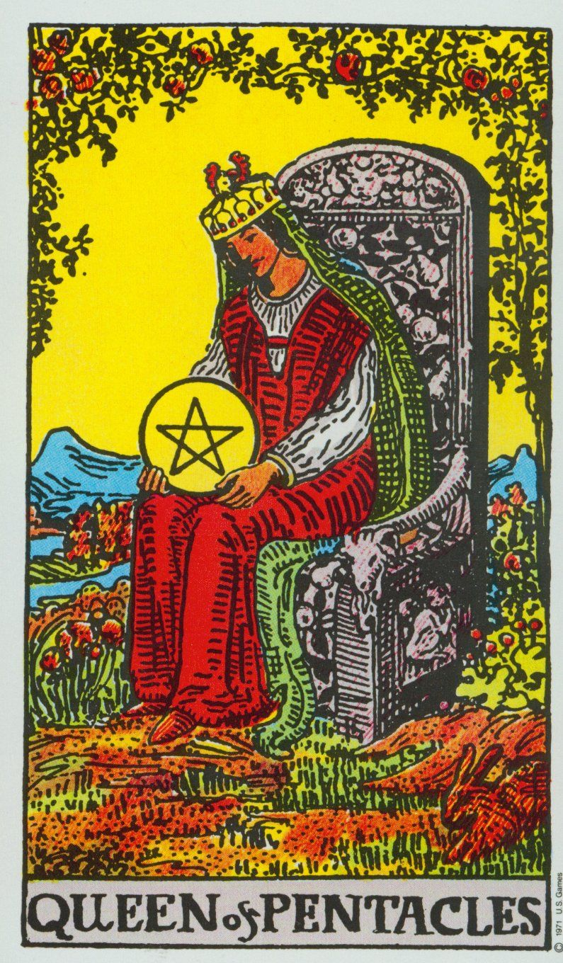 The Queen Of Pentacles- Ryder Waite Tarot Deck