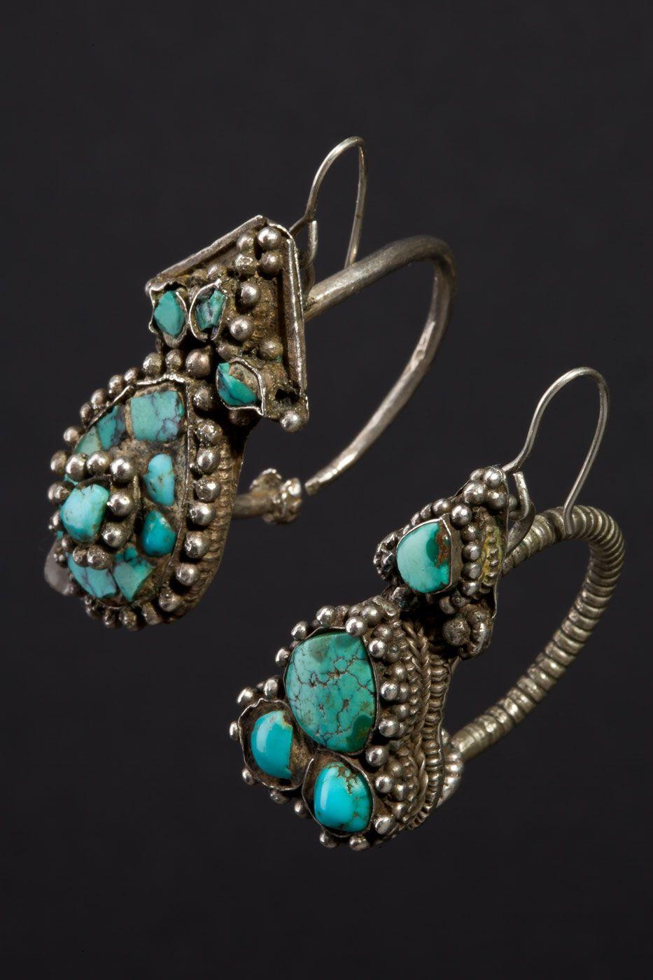 Tibet  Ekbor Earrings; This Type Of Earring Is Worn By Tibetan Women  Either On