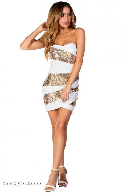 Party in Gold and White Cocktail Dresses