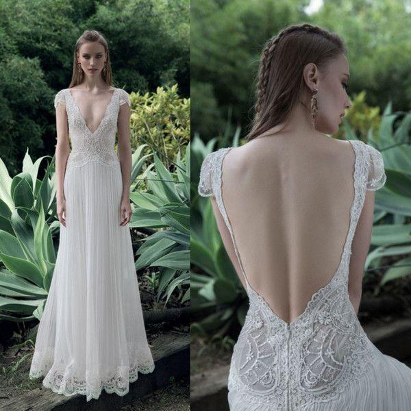 2fbcabc9cb7 Lace 2017 Wedding Dresses Deep V Neck Bridal Gowns Chiffon Backless A Line  Gowns