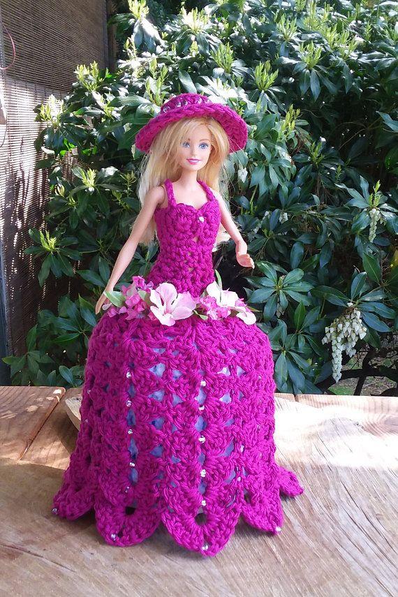 Crochet Toilet Paper Cozy Barbie Doll Dress Nostalgic Bathroom