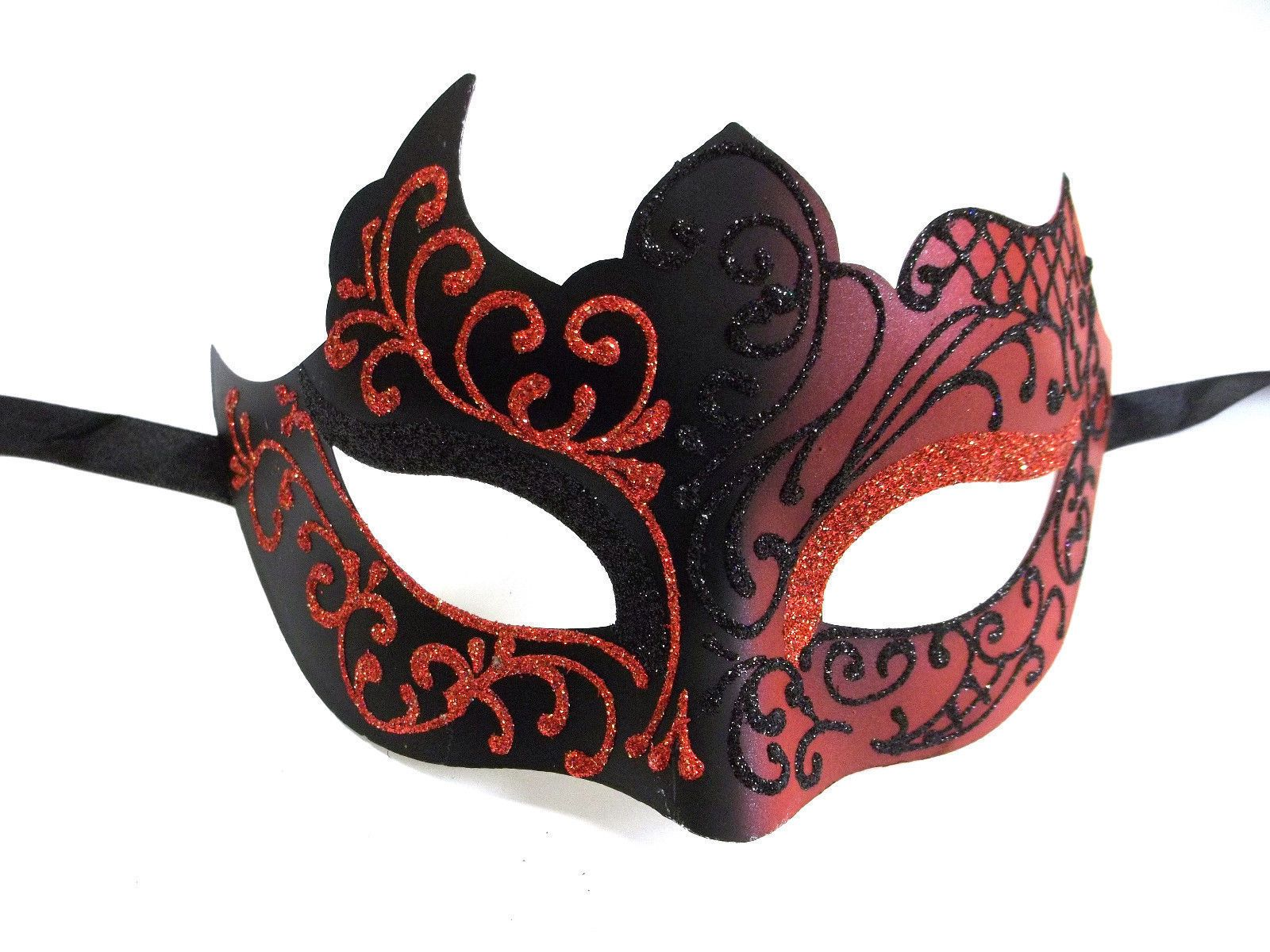 Venetian Mask Mardi Gras Mask Fantasy Fest Pink and Black Masquerade
