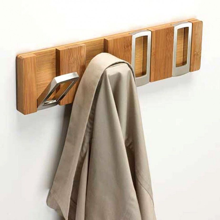 Accessories Stylish Modern Retractable Wall Clothes Hooks Design With Mounted Wooden Rail And Stainless Steel Hooks I Hanger Design Coat Rack Wall Rack Design