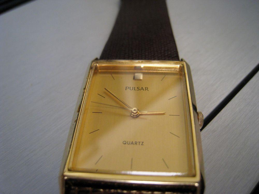 Vintage Pulsar Gold Tone Slim Quartz