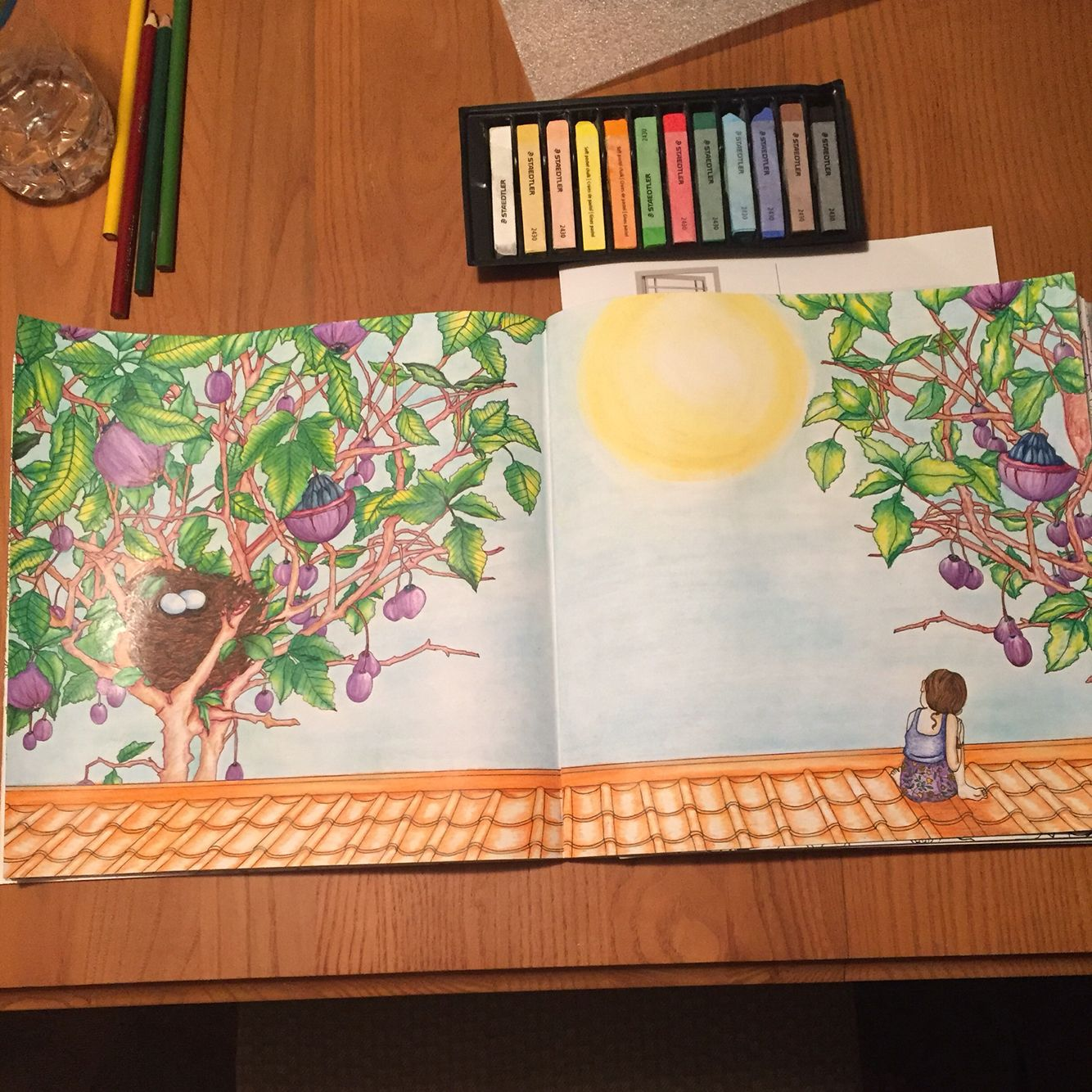 Just Finished Coloring This Double Page From The Time Garden By Daria Song Prismacolor Pencils And Chalk Pastels To Create Background