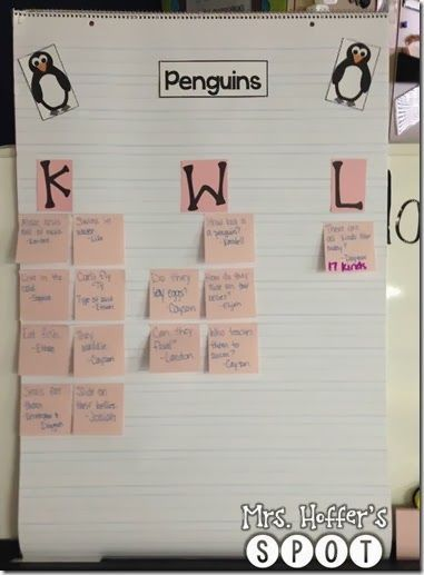 Penguin KWL Chart KinderLand Collaborative Pinterest School - kwl chart