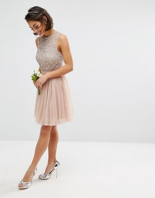 442e4366c27 Maya Petite Sleeveless Sequin Top Mini Dress With Tulle Skirt And ...