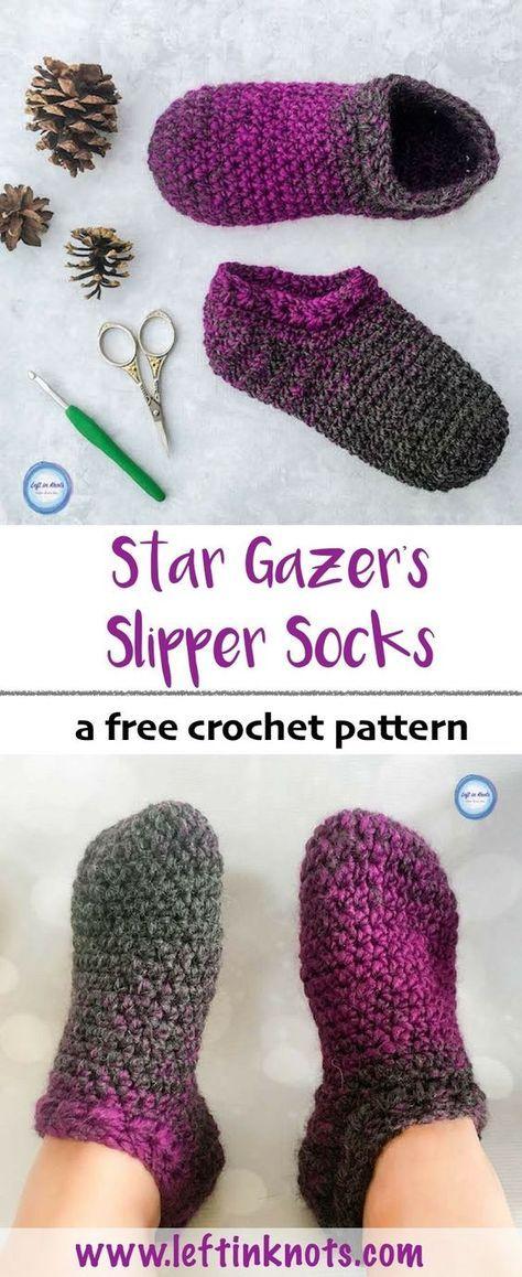 Star Gazer\'s Slipper Socks Crochet Pattern   Plantilla de mariposa ...