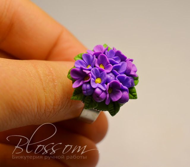 Polymer clay lilac ring. Looks fragile!