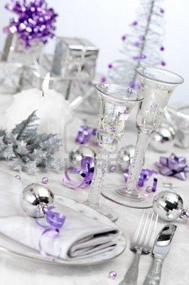 Stock Photo Christmas Party Table Purple Christmas Decorations Purple Christmas