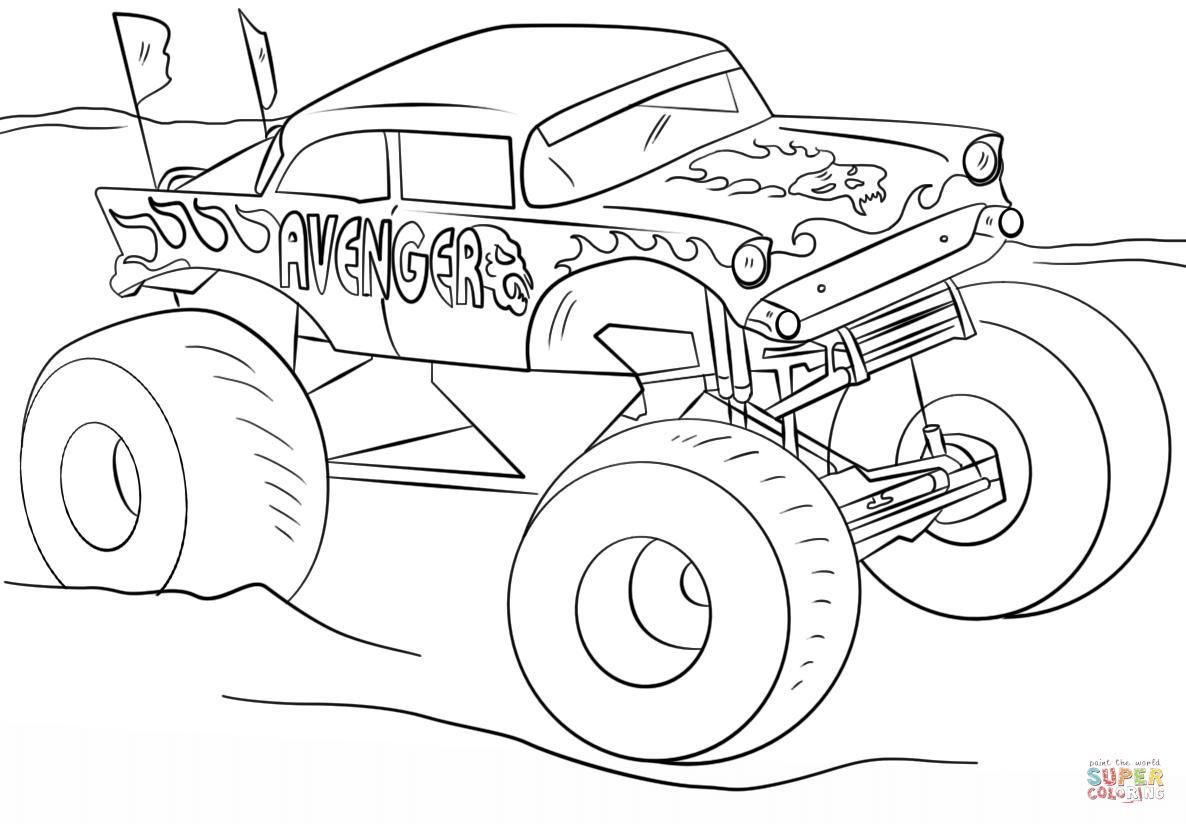 6 Iron Man Monster Truck Coloring Page in 6  Monster truck