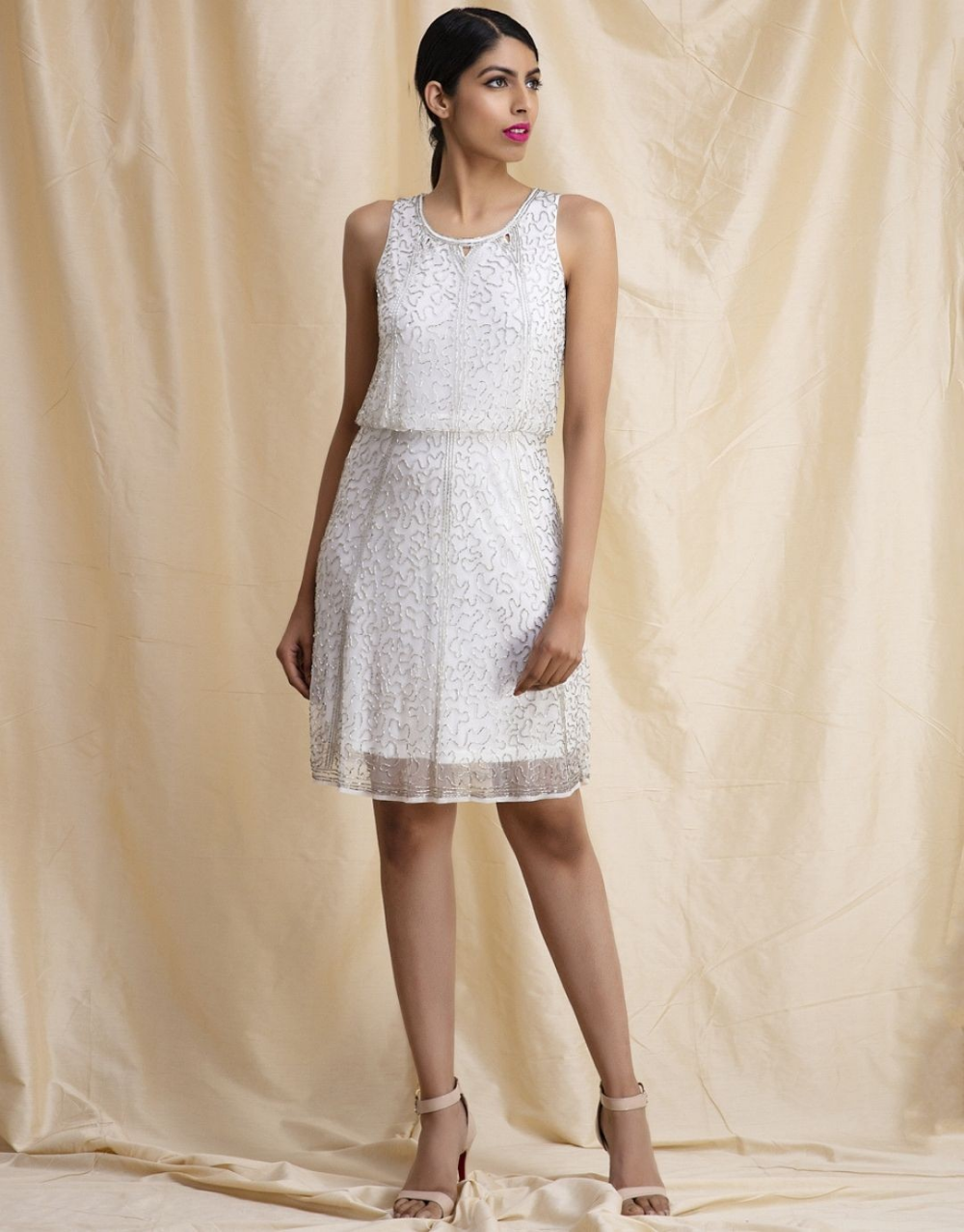 White Silver Embellished Dress From The House Of Ekum A Blouson Style Short White Dress With All Over Silver Hand Embellished Dress Dresses White Short Dress [ 1277 x 1000 Pixel ]