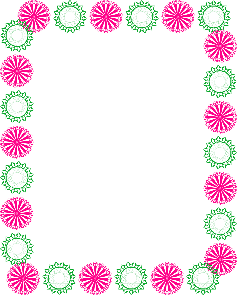 6218 Illustration Of A Blank Frame Border With Pink And Green Shapes Pv Png 958 1191 Border Design Circle Borders Flower Border