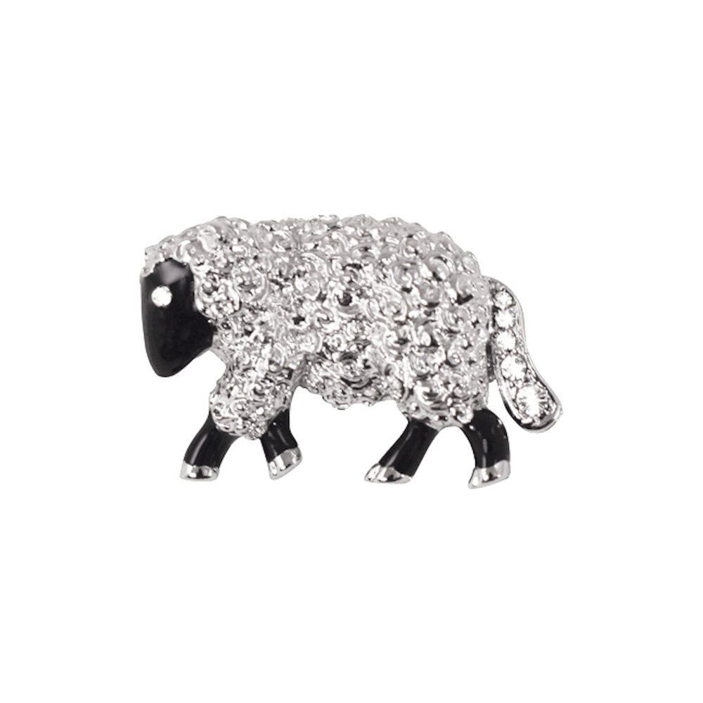 Sybil the Sheep Black Enamel and Austrian Crystal Silver Tone Brooch