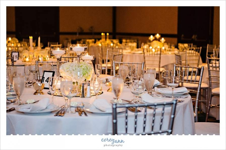 Wedding reception decor by @plantscaping at the Cleveland Marriott Downtown at Key Center by Corey Ann Photography