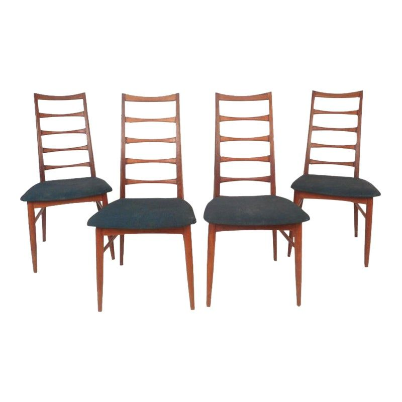 Niels Kofoed Mid Century Modern Ladder Back Dining Chairs Set Of