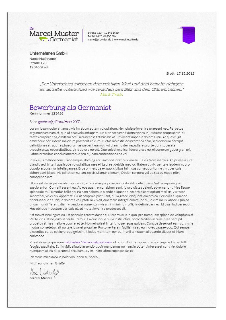 Bewerbungsdesign - Germanist (Anschreiben) | Lebenslauf ...