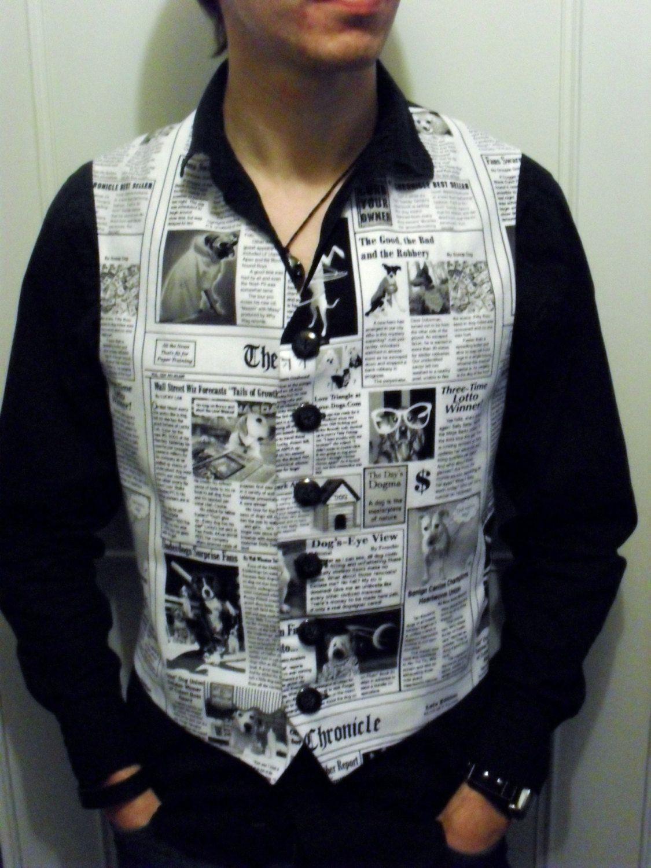Mens Canine Dog Puppy Newspaper Print Waistcoat Vest ...