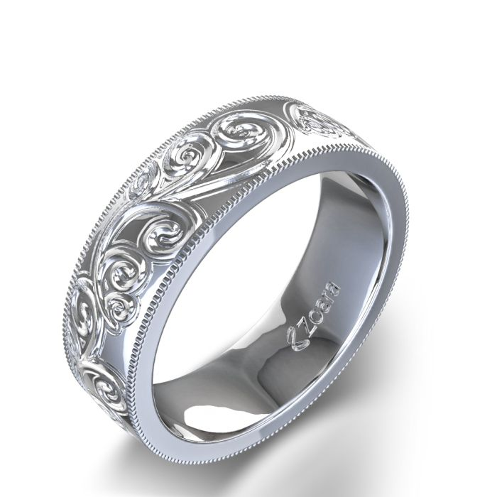 Paisley Design Hand Carved Wedding Band In White Gold