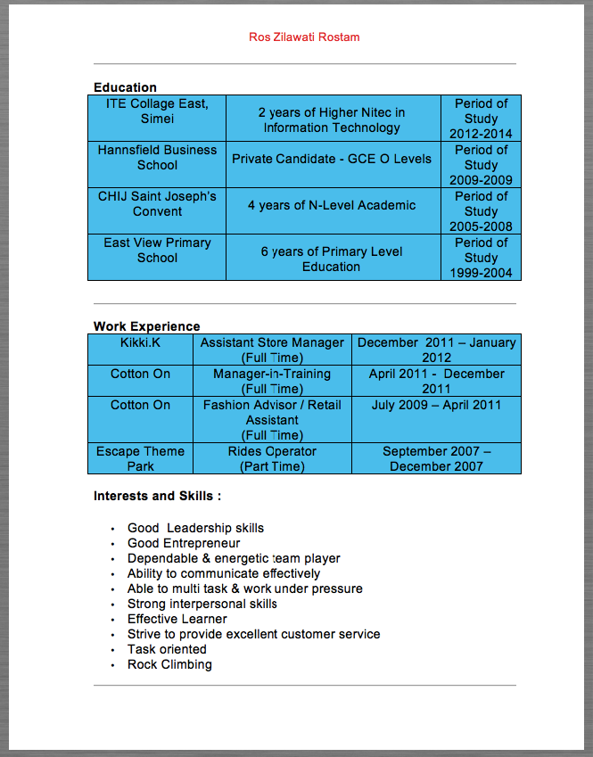 Assistant Store Manager Resume Sample Ros Zilawati Rostam Education ...