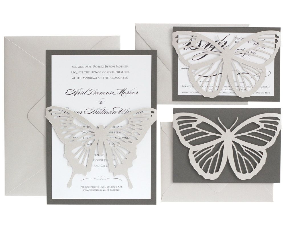Butterfly Wedding Invitations - shimmer silver, slate gray, black ...