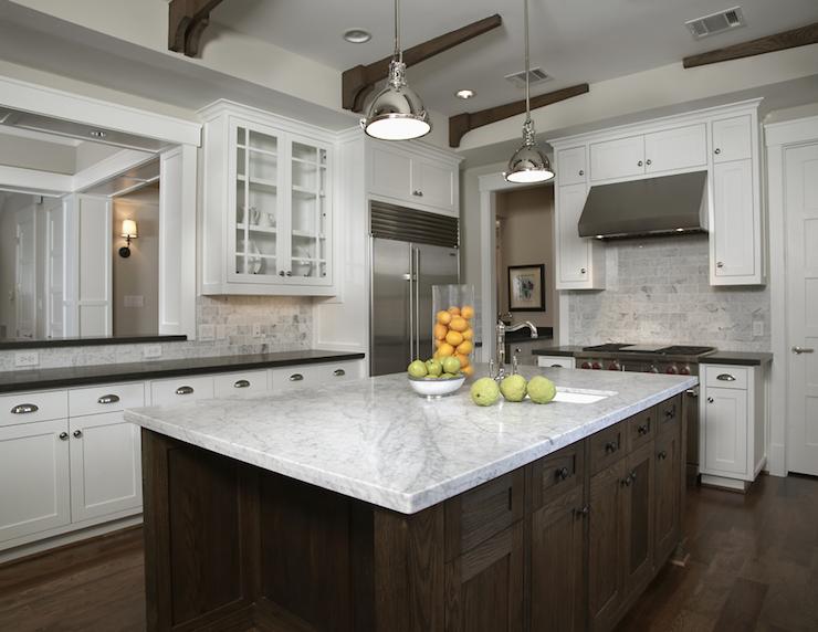 kitchens yoke pendants white carrara marble countertops