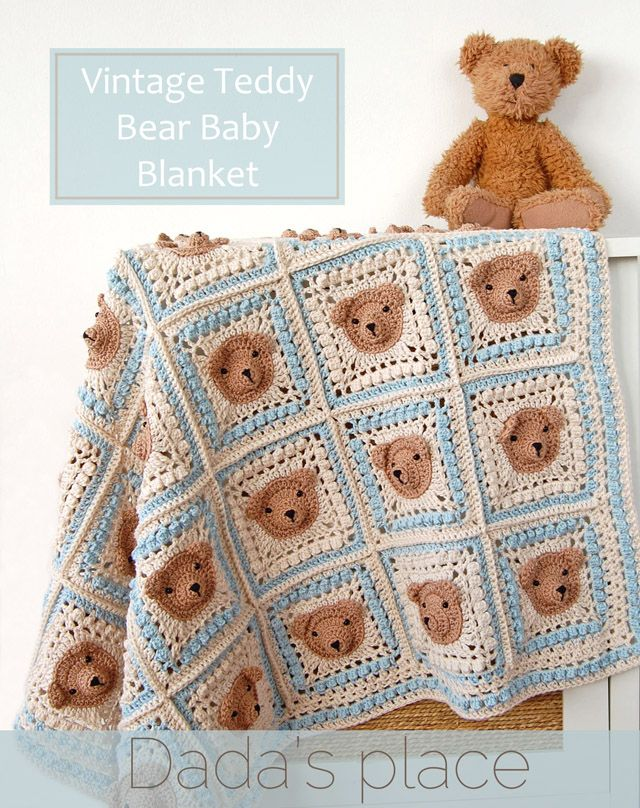 Vintage Crochet Teddy Bear Blanket Pattern (Dada\'s Place ...