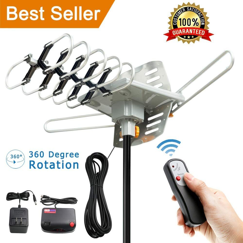 Outdoor Amplified TV Antenna 150 Mile 360 Rotate Support 2TVs HD UHF