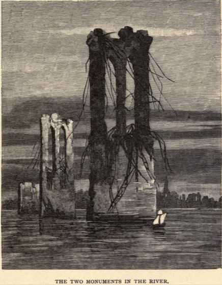 mbelt:  'The Two Monuments in the River', an imagining of the ruins of the Brooklyn Bridge from a writer in 1889 of America in 2951. From The Last American.