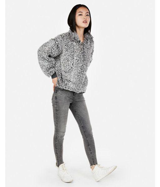 3f8bb22261b5fb Express One Eleven Oversized Sherpa Fleece Sweatshirt Gray Women's ...