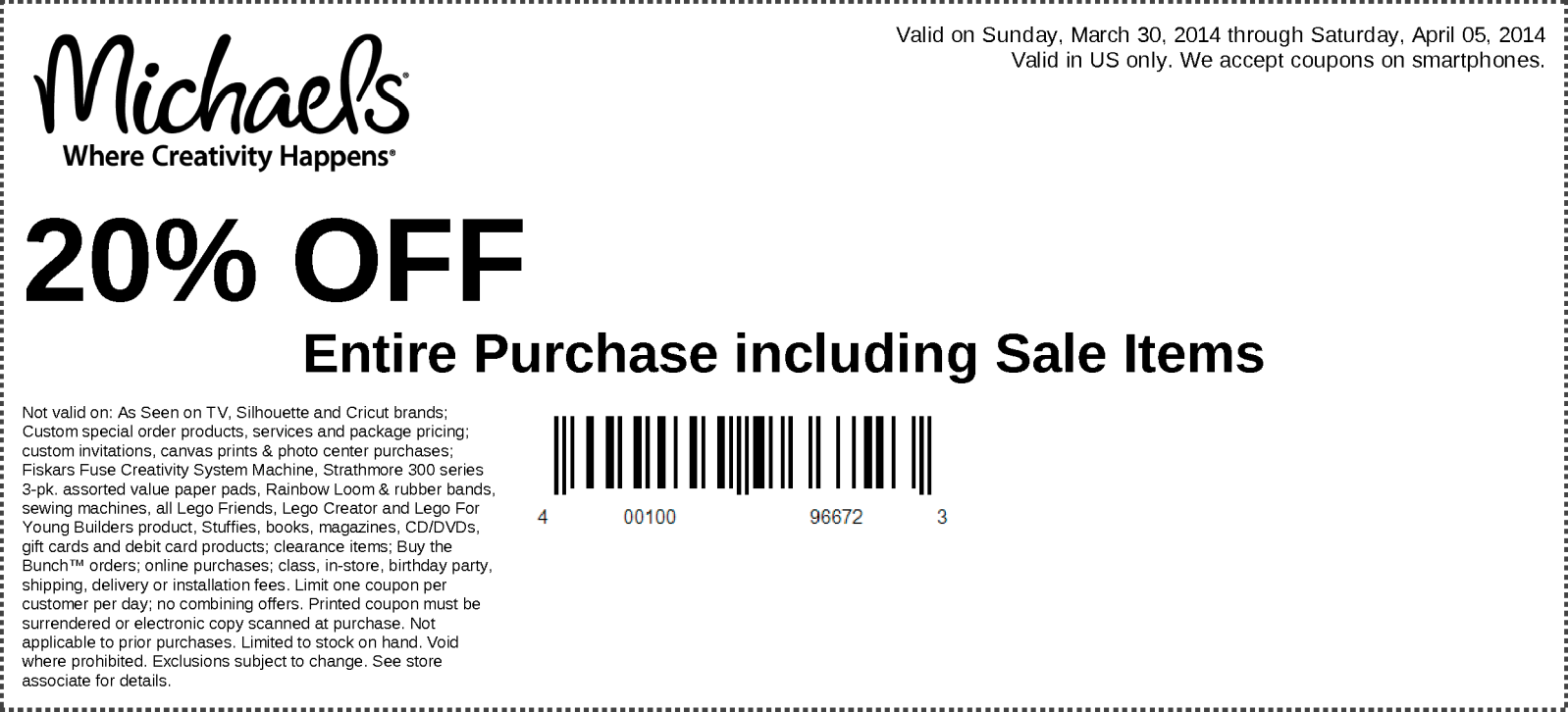 Michaels 20 Off Your Entire In Store Purchase Exp 04 05 14 Via The Coupons App Printable Coupons Free Printable Coupons Promo Coupon