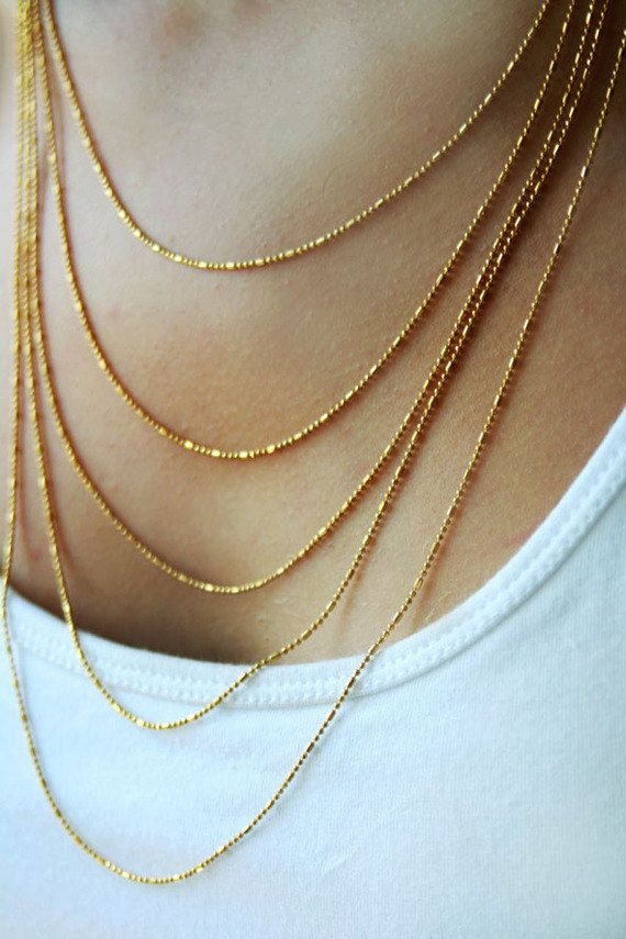 Multi Layered Gold Chain Necklace 14k Gold Bridal Necklaces Thick Gold Chain Necklace Thick Gold Chain Gold Bridal Necklace