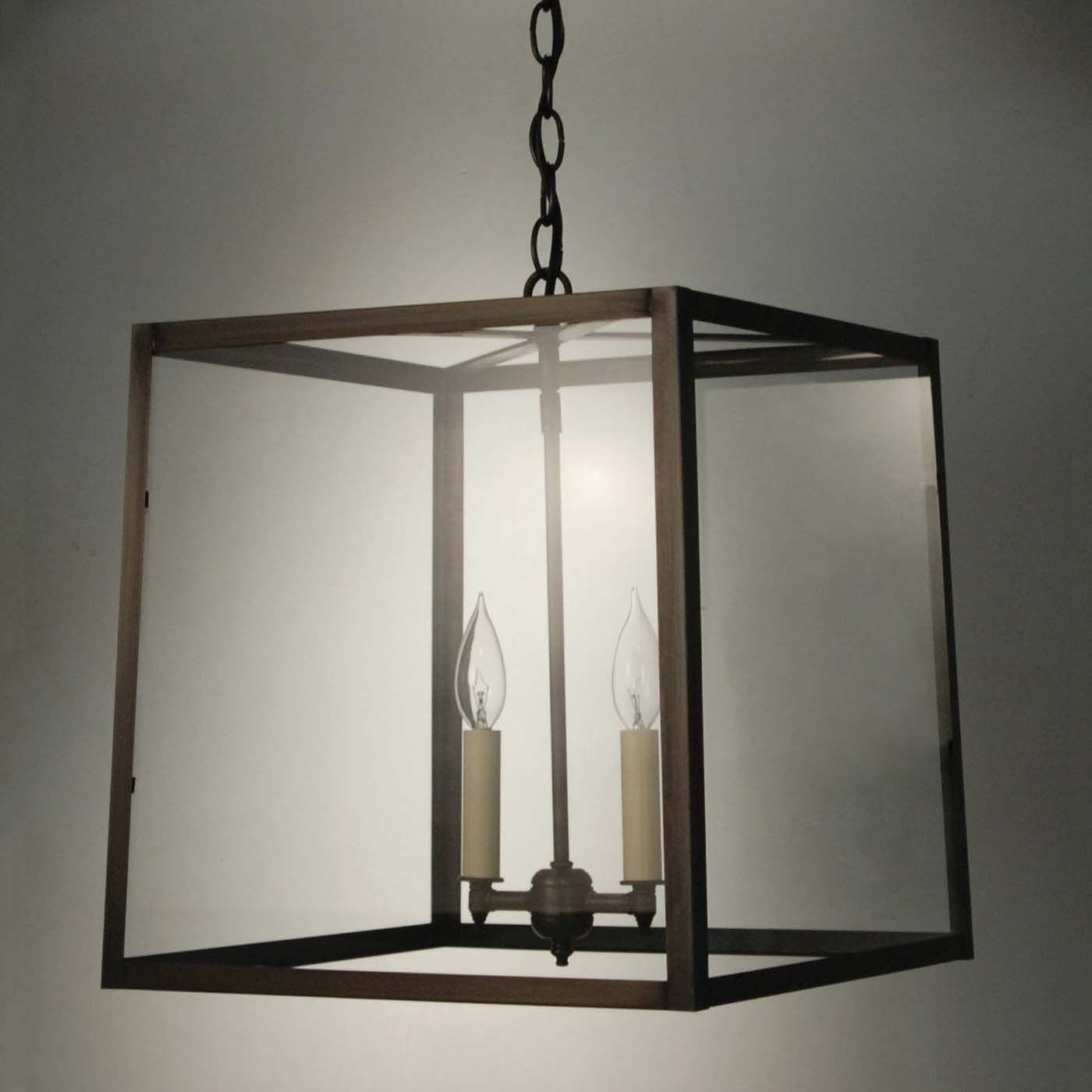 15 Inches Wide Northeast Lantern ST1415 Transitional Square Trapezoid Hanging Pendant Light