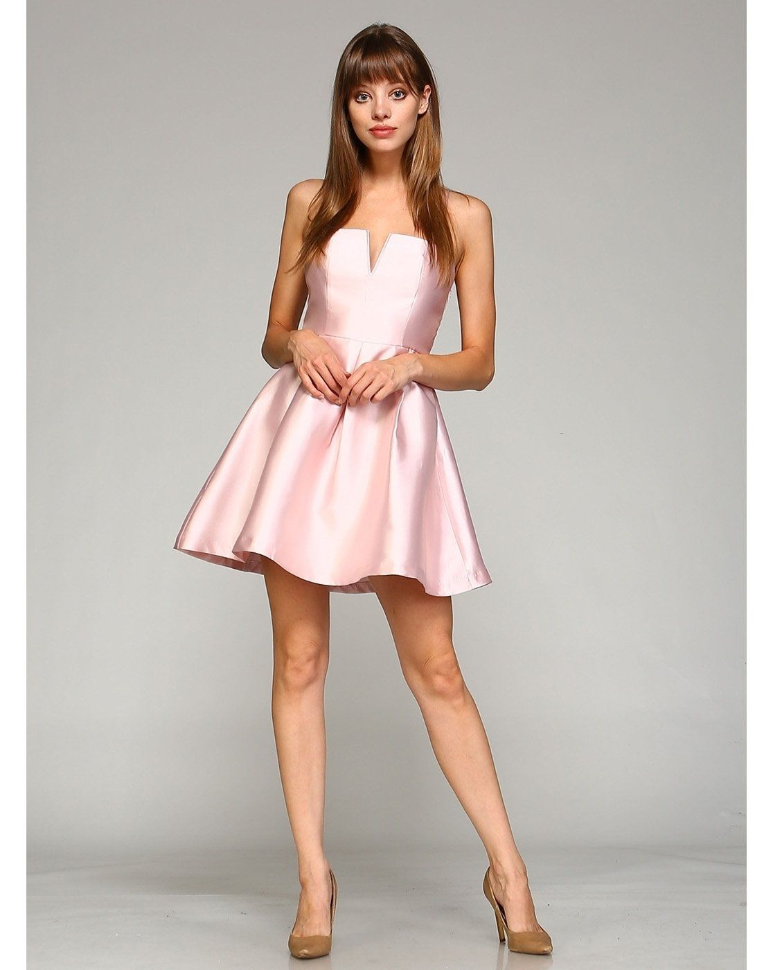 Blush pink fit and flare dress in products pinterest fit