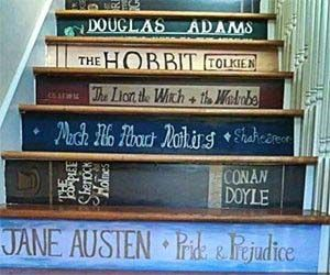 Staircase Book Stickers - Make your staircase look like a library.