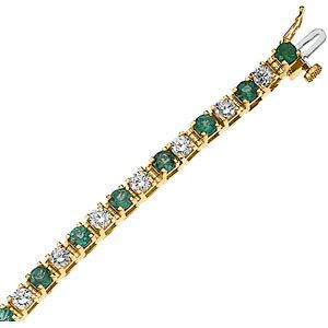 #62078, 2-3/8ct TW Genuine Emerald & Diamond Bracelet, Nathalie's Jeweler