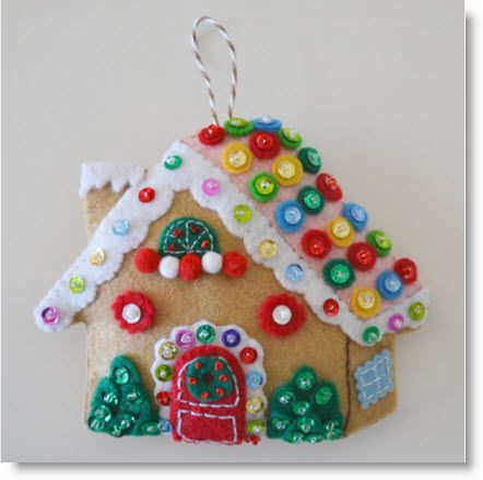 Tutorial Gingerbread House Ornament With Images Felt