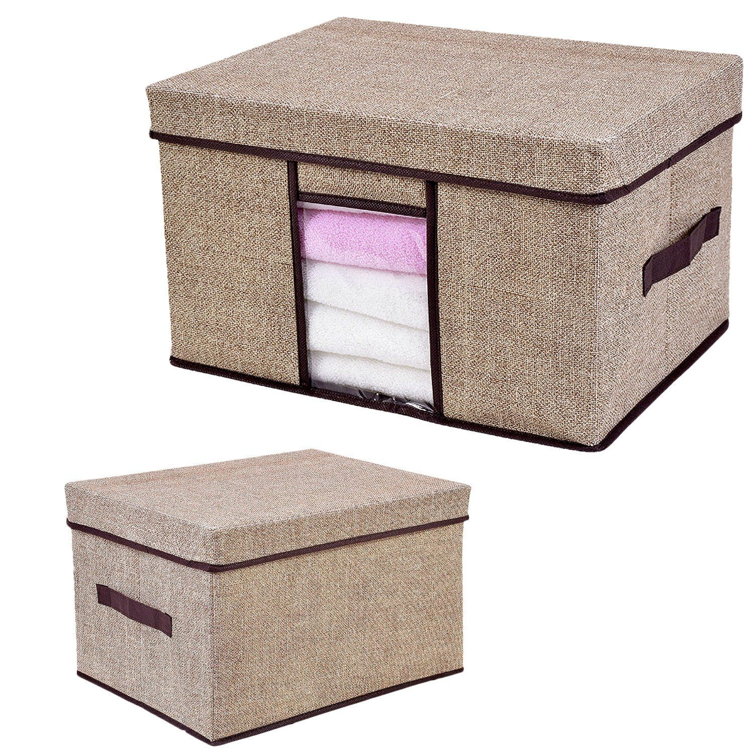 Amazon Com Cloth Organizer Box Pretid 10 X 12 X 16 Inch Foldable Houshold Storage Blanket Linen Cu Fabric Storage Boxes Clothes Organization Organiser Box
