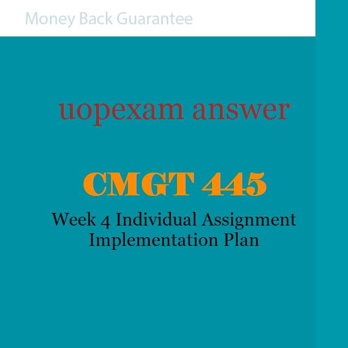 Cmgt  Week  Individual Assignment Implementation Plan  Cmtg