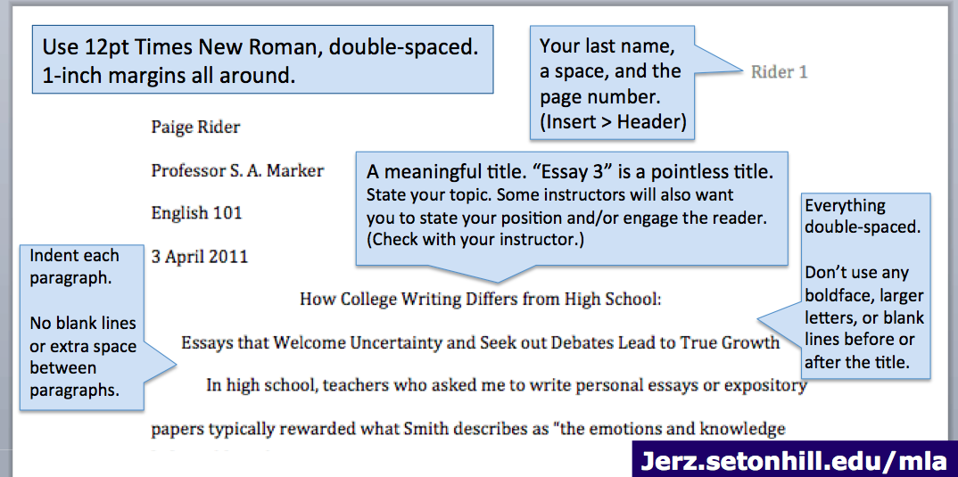 Mla Format Paper Step By Instruction For Writing Research Essay Jerz S Literacy Weblog Good Topics Are Double Spaced