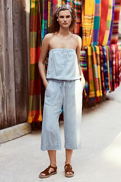 Strapless Chambray Jumpsuit #anthropologie