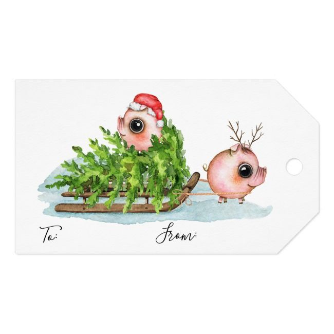 Christmas Little Pig Pulling Sled Gift Tags   Zazzle.com ...