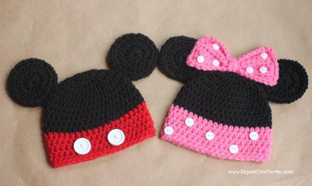 Mickey & Minnie crochet hats | Crochet / Knitting / Loom | Pinterest ...