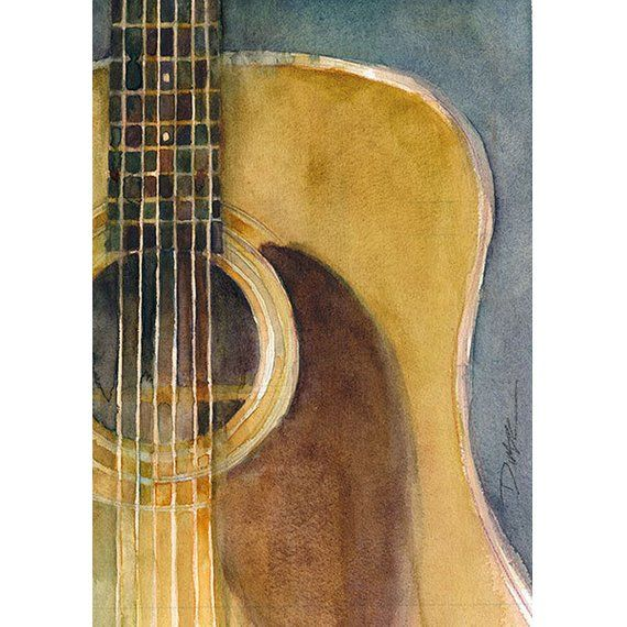 Martin Guitar D-28 (2013) – Watercolor Art Print – Size 8.5 x 11 or 12 x 18