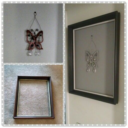 Butterfly Wall Decor......butterfly hanger + thrift store frame + paint = hallway beautification