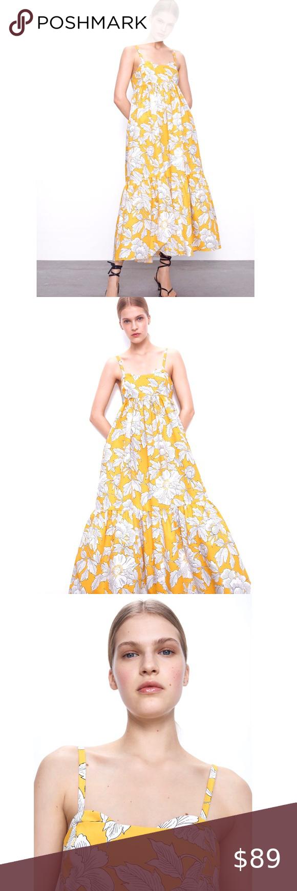 Nwt Zara Yellow White Floral Poplin Cotton Dress Flower Maxi Dress Cotton Dresses Dresses [ 1740 x 580 Pixel ]