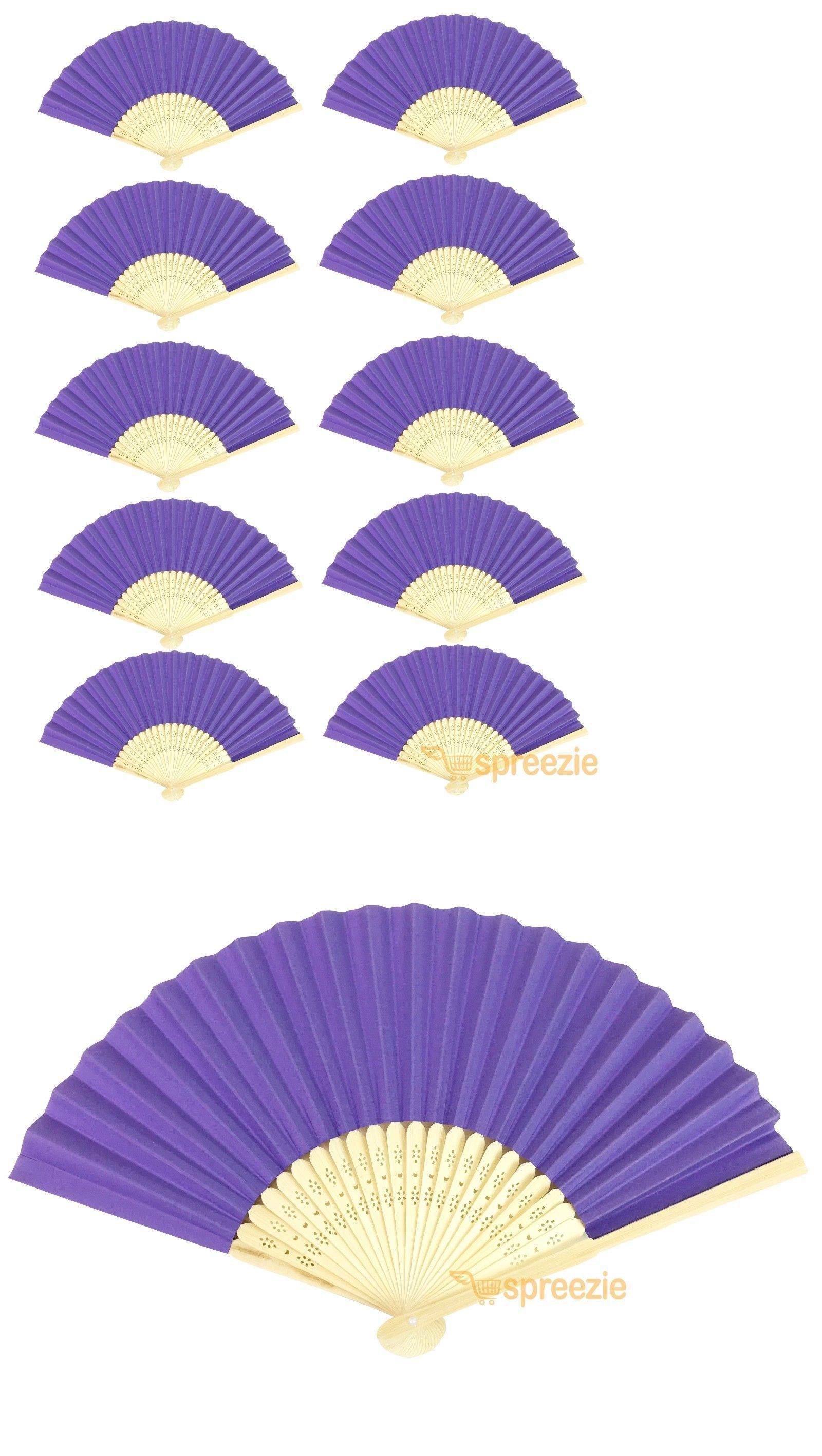 10 Pack Light Blue Paper Hand Fans Bamboo Chinese Folding Pocket Fan Decor New